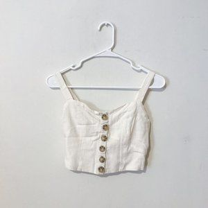 ivory linen cropped tank with buttons